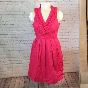 WHBM hot pink hi-waist w ruffled neckline